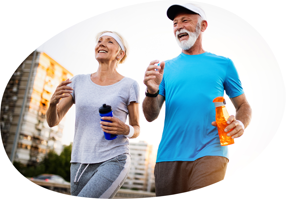 Active Senior Couple engaging in healthy sports happy